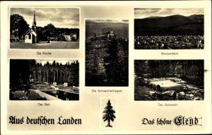 Ak Elend Oberharz am Brocken, Kirche, Bad, Schnarcherklippen, Brockenblick, Bodewehr
