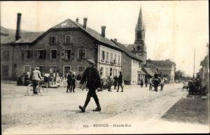 Ak Moosch Elsass Haut Rhin, Grande Rue, Straßenansicht, Kirche