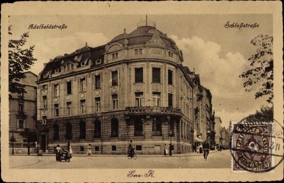 Ak Gera in Thüringen, Adelheidstraße, Schloßstraße, Allgemeine Deutsche Credit Anstalt