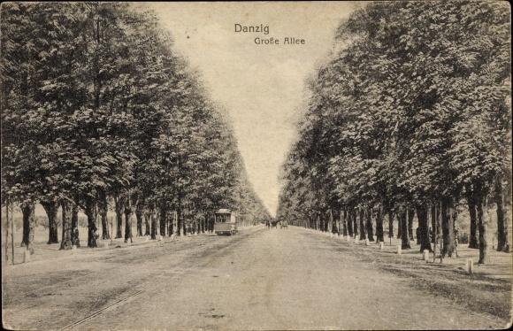 Ak Gdańsk Danzig, Große Allee, Straßenbahn, Bäume