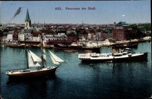 Ak Kiel in Schleswig Holstein, Stadtpanorama vom Hafen aus, Dampfer, Segelschiff