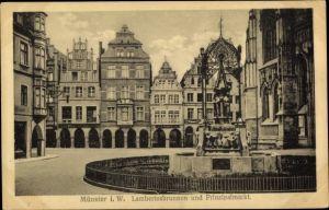 Ak Münster in Westfalen, Lambertusbrunnen und Prinzipalmarkt, Fotohaus