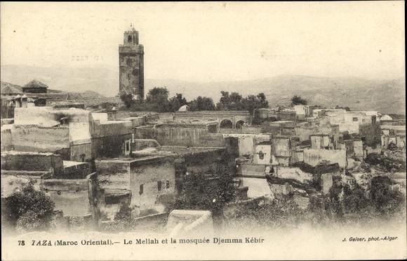 Ak Taza Marokko, Le Mellah et la mosquée Djemma Kébir, Jüdisches Viertel