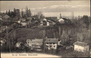Ak Hermance Kt. Genf Schweiz, Bourg dessus, Panorama von Ort und Umgebung, Kirche