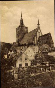 Ak Rostock in Mecklenburg Vorpommern, Partie am Mühlentor mit Blick auf die Nikolaikirche