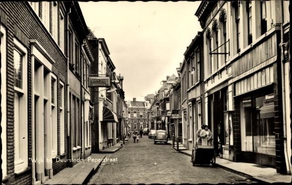 Ak Wijk bij Duurstede Niederlande, Peperstraat, Straßenansicht, Geschäfte