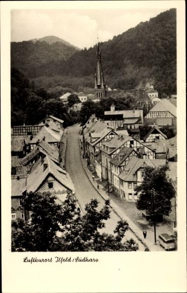 Ak Ilfeld Harztor in Thüringen, Teilansicht vom Ort, Straße aus der Vogelschau