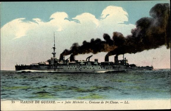 Ak Französisches Kriegsschiff, Jules Michel, Croiseur de 1re Classe, Marine de Guerre