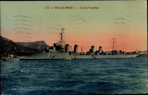 Ak Französisches Kriegsschiff, Maille Breze, 7, Contre Torpilleur
