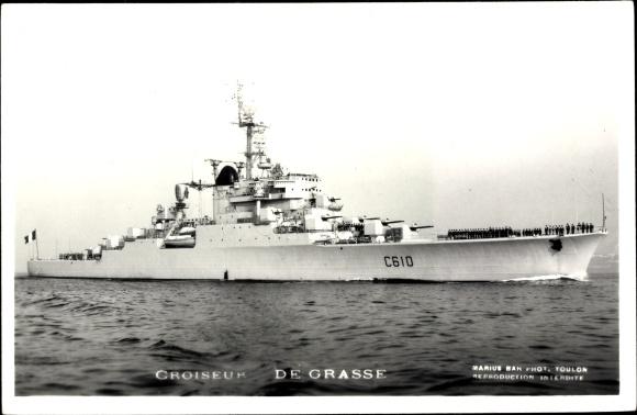 Ak Französisches Kriegsschiff, De Grasse, C 610, Croiseur, Geschütztürme