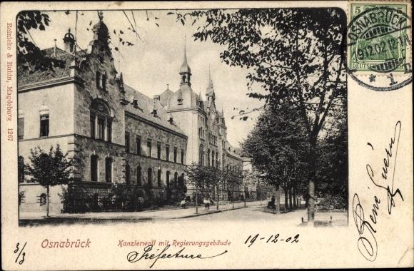 Ak Osnabrück in Niedersachsen, Kanzlerwall und Regierungsgebäude