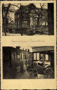 Ak Bersenbrück in Niedersachsen, Kreismuseum, Außenansicht und Ausstellungsraum, Webstuhl, Spinnrad