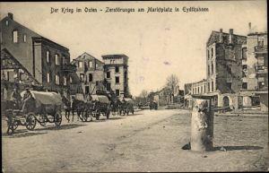 Ak Tschernyschewskoje EydtkauEydtkuhnen Ostpreußen, Marktplatz, Planwagen, Zerstörungen I. WK