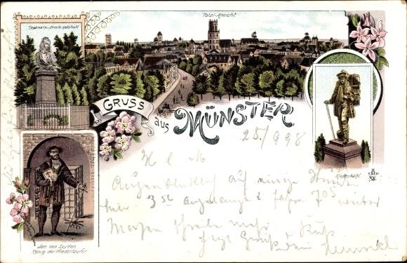 Litho Münster in Westfalen, Jan von Leyden, König der Wiedertäufer, Kiepenkerl, Denkmal, Panorama