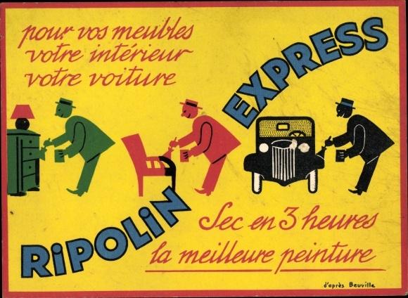 Künstler Ak Ripolin Express, Reklame, Farbe für Möbel und Auto, la meilleure peinture