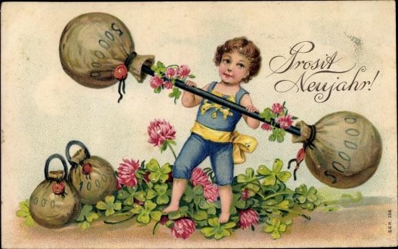 Präge Ak Glückwunsch Neujahr, Geldsäcke, Hantel, Kleeblätter