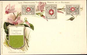 Briefmarken Litho Les premiers Timbres Poste de la Suisse, Kanton Waadt