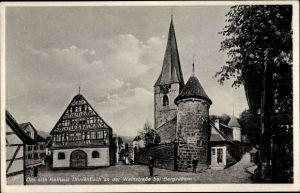 Ak Dörrenbach in Rheinland Pfalz, Straßenpartie am alten Rathaus, Kirchturm