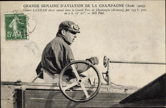 Ak Grande Semaine d'Aviation de la Champagne, Août 1909, Hubert Latham