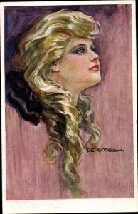 Künstler Ak de Godella, Frauenportrait, Blondine