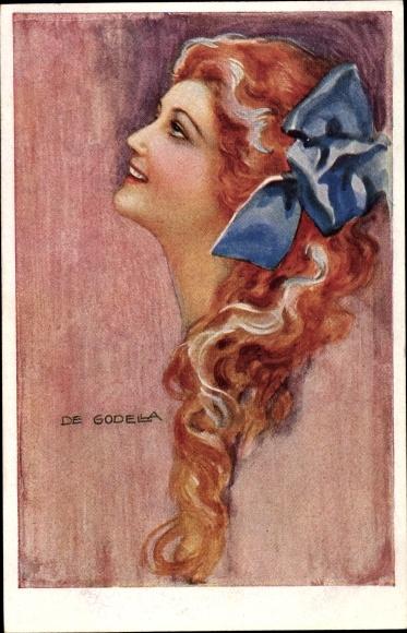 Künstler Ak de Godella, Frauenportrait, Rothaarig, Blaue Schleife