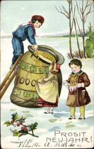Präge Ak Glückwunsch Neujahr, Geldsack, Kinder, Münzen