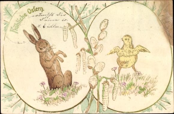 Präge Ak Glückwunsch Ostern, Osterhase, Küken, Weidenkätzchen