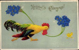 Präge Stoff Ak Glückwunsch Ostern, Hahn verfolgt ein Küken