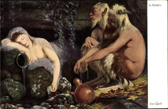 Künstler Ak Böcklin, Arnold, Am Quell, Junge Frau, Faunus, Faun