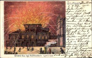 Litho Stuttgart in Baden Württemberg, Brand des kgl. Hoftheaters 1902, Feuerwehr