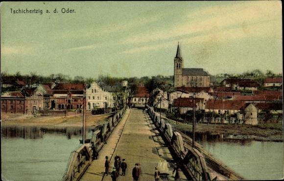 Ak Cigacice Odereck Sulechów Züllichau Ostbrandenburg, Brückenpartie, Kirche
