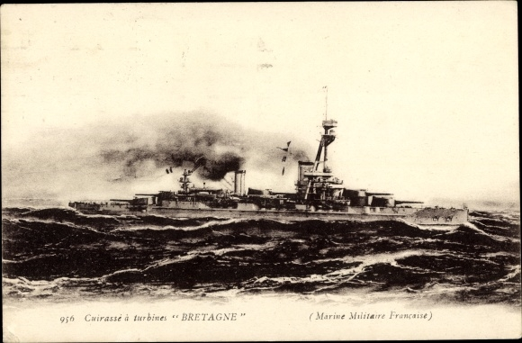 Ak Französisches Kriegsschiff, Bretagne, Cuirassé à turbines, Marine Militaire Francaise