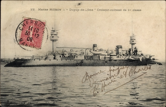 Ak Französisches Kriegsschiff, Dupuy de Lome, Croiseur Cuirassé de 1er Classe, Marine Militaire