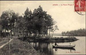 Ak Anor Nord, La Neuve Forge, Flusspartie, Ruderboot, Gebäude