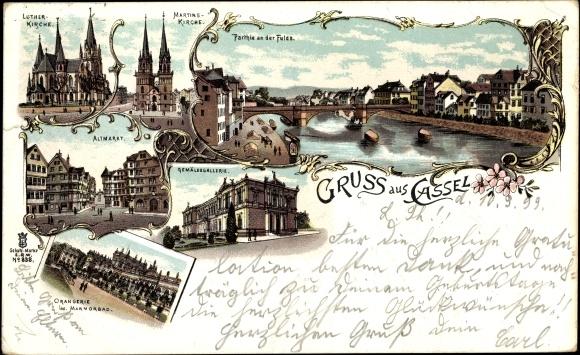 Litho Kassel in Hessen, Lutherkirche, Martinskirche, Fuldapartie, Gemäldegalerie