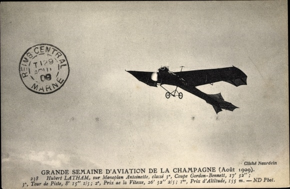 Ak Grande Semaine d'Aviation de Champagne, Août 1909, Hubert Latham, Monoplan Antoinette