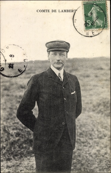 Ak Comte de Lambert, Flugpionier, Pilot, Portrait