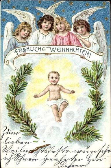Christkind Bilder Weihnachten.Präge Ak Frohe Weihnachten Engel Christkind