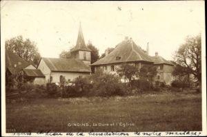 Ak Gingins Kt. Waadt Schweiz, La Cure et l'Église