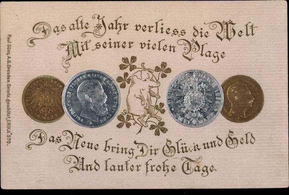 Präge Münz Ak Glückwunsch Neujahr Zwei Silbermark 20 Goldmark Nr