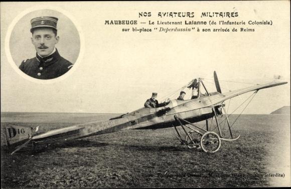 Ak Nos Aviateurs Militaires, Maubeuge, Lieutenant Lalanne, Deperdussin, Flugpionier
