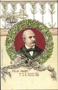 Künstler Ak Französischer Staatspräsident Félix Faure, Trauerkarte 1899, Portrait