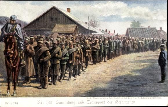 Ak Sammlung und Transport der Gefangenen, Kuk Reiter, Kriegsgefangene
