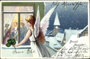 Ak Glückwunsch Neujahr, Engel am Fenster, Kleeblatt, Winterszene