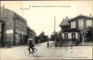 Ak Montreux Vieux Altmünsterol Elsass Haut Rhin, Rue principale, Geschäftshaus, Wohnhaus, Radfahrer
