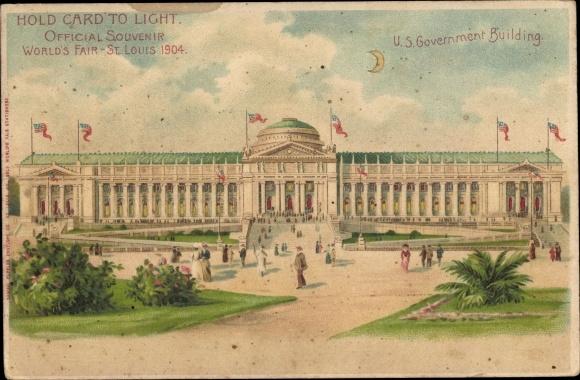 Halt gegen das Licht Präge Litho St Louis Missouri USA, World's Fair 1904, US Government Building