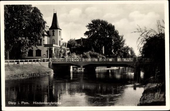Ak Słupsk Stolp Pommern, Hindenburgbrücke, Wasserpartie