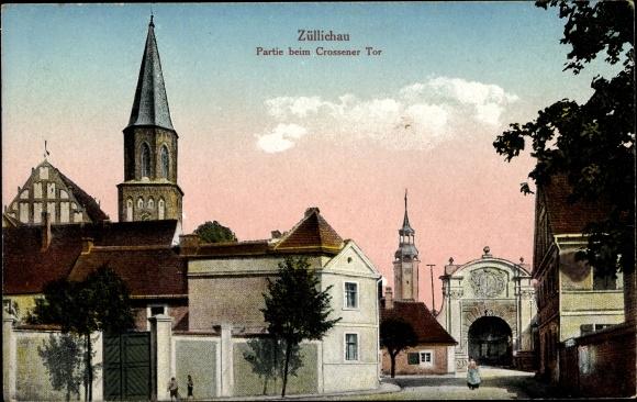 Ak Züllichau Sulechów Ostbrandenburg, Partie beim Crossener Tor