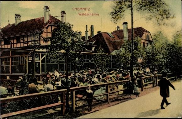 Ak Chemnitz Sachsen, Waldschänke, Gartenterrasse