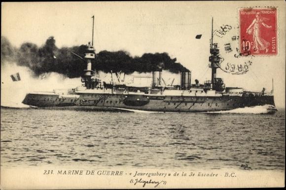 Ak Französisches Kriegsschiff, Jauréguiberry, Cuirassé d'Escadre, Marine de Guerre